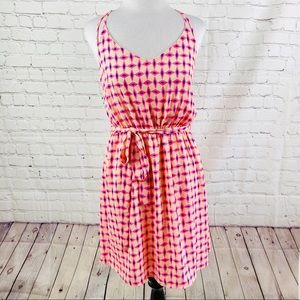 Pink Owl Dress Sleeveless Neon Geometric Print